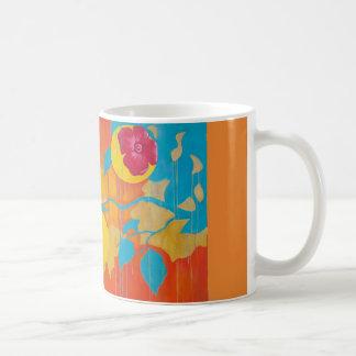 Falling Persimmons in Yellow Coffee Mug