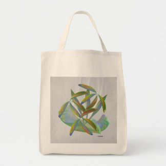 Falling petals in fog tote bag