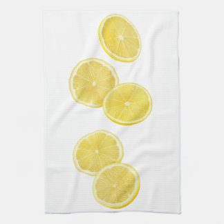 Falling pieces of lemon kitchen towel