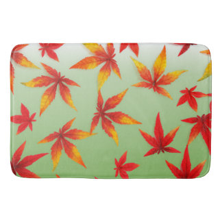 Falling Red Autumn Leaves Bathmat