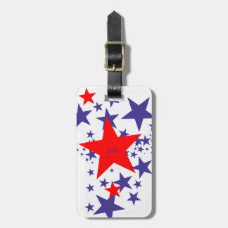 Falling Red White Blue Stars Custom Patriotic Luggage Tag