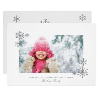 Falling Snowflakes Framed Holiday Photo Card
