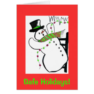 Falling snowman, safe holidays card