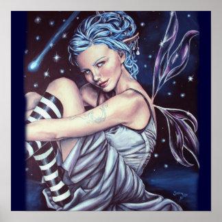 falling stars faery artwork poster