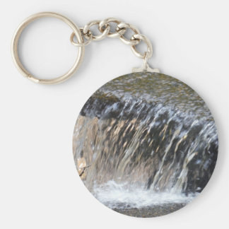 Falling Water, cool blue gray and white stream Keychain