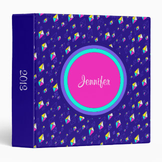 Falling Yellow Pink and Blue Gems on Blue Vinyl Binder