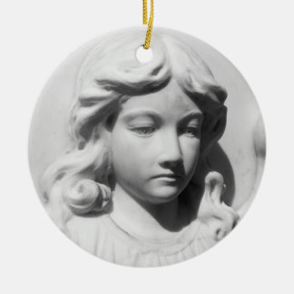 Falln Angel in Mourning Round Ceramic Ornament