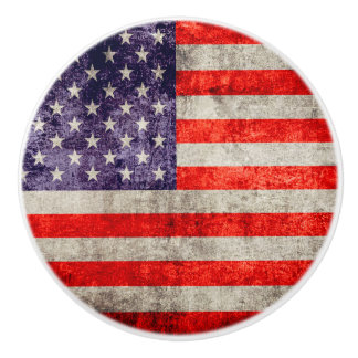 Falln Antique American Flag Ceramic Knob