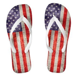 Falln Antique American Flag Flip Flops