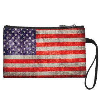 Falln Antique American Flag Wristlet Clutches