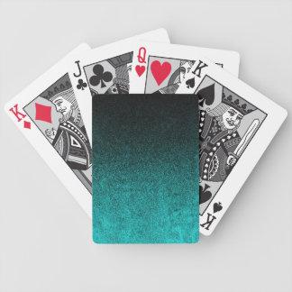 Falln Aqua & Black Glitter Gradient Bicycle Playing Cards