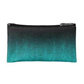 Falln Aqua & Black Glitter Gradient Cosmetic Bag