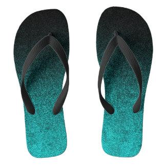 Falln Aqua & Black Glitter Gradient Flip Flops