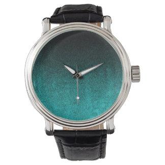 Falln Aqua & Black Glitter Gradient Wrist Watch