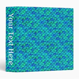 Falln Aqua Blue Scales 3 Ring Binder