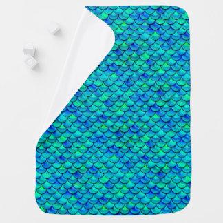 Falln Aqua Blue Scales Baby Blanket