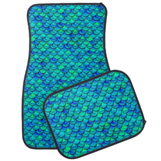 Falln Aqua Blue Scales Car Mat