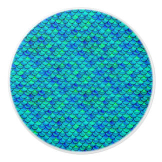Falln Aqua Blue Scales Ceramic Knob