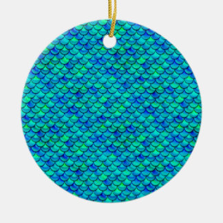 Falln Aqua Blue Scales Ceramic Ornament