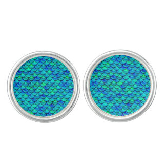 Falln Aqua Blue Scales Cufflinks