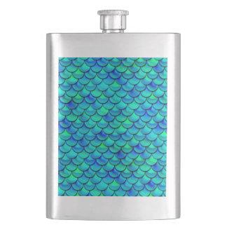 Falln Aqua Blue Scales Hip Flask