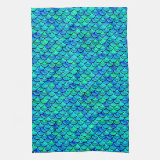 Falln Aqua Blue Scales Kitchen Towel