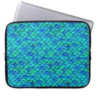 Falln Aqua Blue Scales Laptop Sleeve