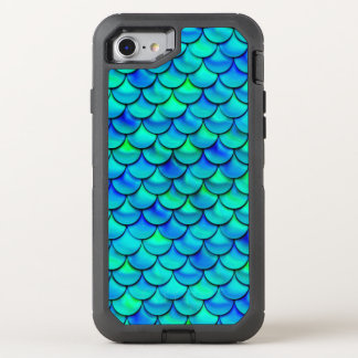 Falln Aqua Blue Scales OtterBox Defender iPhone 8/7 Case