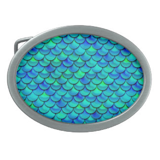 Falln Aqua Blue Scales Oval Belt Buckle