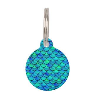 Falln Aqua Blue Scales Pet ID Tag
