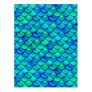 Falln Aqua Blue Scales Postcard