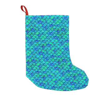 Falln Aqua Blue Scales Small Christmas Stocking