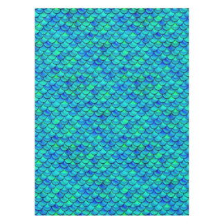Falln Aqua Blue Scales Tablecloth