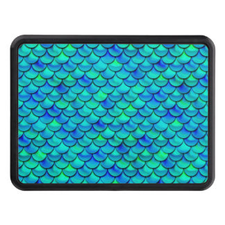 Falln Aqua Blue Scales Trailer Hitch Cover