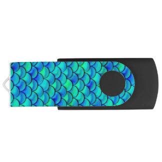 Falln Aqua Blue Scales USB Flash Drive