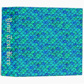 Falln Aqua Blue Scales Vinyl Binder