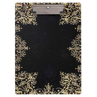 Falln Black And Gold Filigree Clipboard