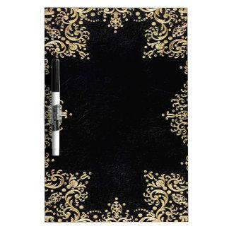 Falln Black And Gold Filigree Dry Erase Board