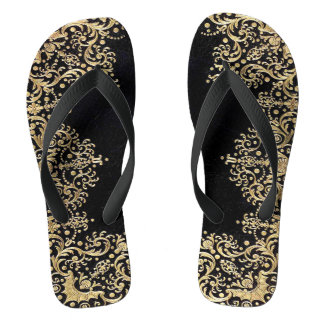 Falln Black And Gold Filigree Flip Flops