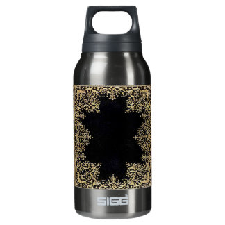 Falln Black And Gold Filigree Insulated Water Bottle