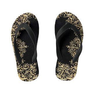 Falln Black And Gold Filigree Kid's Flip Flops