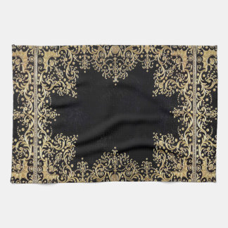 Falln Black And Gold Filigree Kitchen Towel