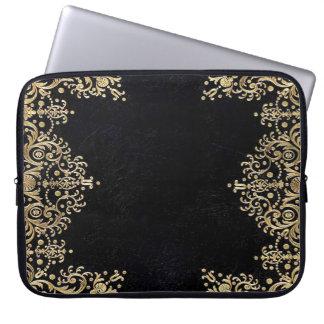 Falln Black And Gold Filigree Laptop Sleeve