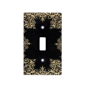 Falln Black And Gold Filigree Light Switch Cover