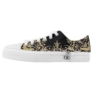 Falln Black And Gold Filigree Low-Top Sneakers