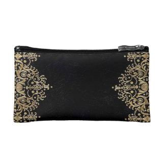 Falln Black And Gold Filigree Makeup Bag