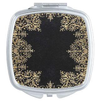 Falln Black And Gold Filigree Makeup Mirror