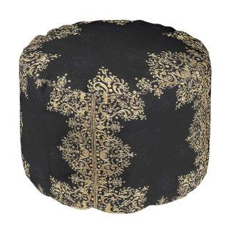 Falln Black And Gold Filigree Pouf