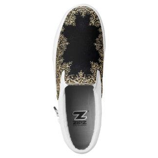 Falln Black And Gold Filigree Slip-On Sneakers