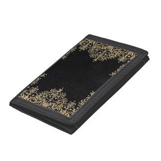 Falln Black And Gold Filigree Tri-fold Wallet